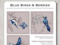 Ricamo Punto Croce e Blackwork: Uccellini blu e bacche - Ebook da scaricare