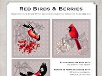 Ricamo Punto Croce e Blackwork: Uccellini rossi e bacche - Ebook da scaricare