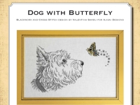 Ricamo Punto Croce e Blackwork: Cane con farfalla – Ebook da scaricare
