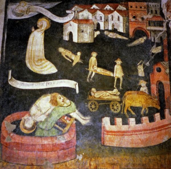 """Villanova di Mondovì (Cn), Chiesa S.Caterina: """"Paesaggio con appestati"""" M° Storie di S.Sebastiano, 1469"""