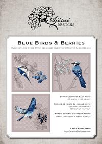 Ricamo Punto Croce e Blackwork: Uccellini blu e bacche<br /> Ebook da scaricare