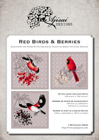 Ricamo Punto Croce e Blackwork: Uccellini rossi e bacche<br /> Ebook da scaricare